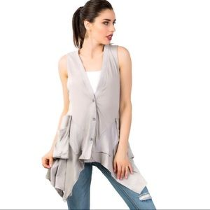 Jackets & Blazers - Sleeveless Asymmetric Hem Vest